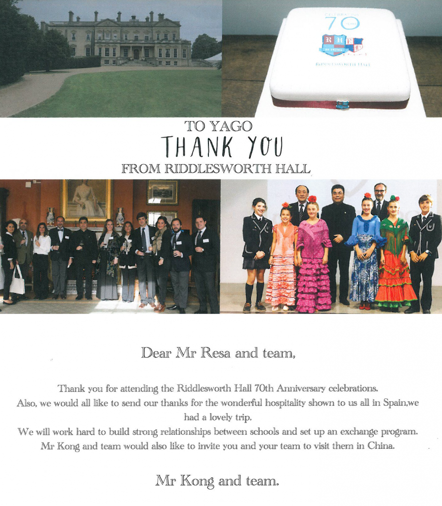 mr. kong's thank you-card to Yago School